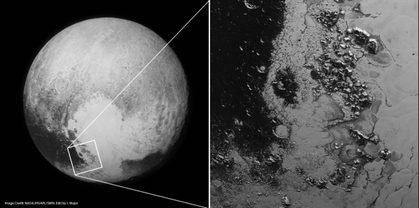 LORRI camera images of Pluto from July 13 (left) and July 14 (right) – the enlarged area shows a second mountain range on the border of Tombaugh Regio. (NASA/JHUAPL/SwRI. Edit by Jason Major).