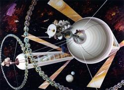 Counter-balanced O'Neil cylinders. Credit: NASA ID Number AC75-1085