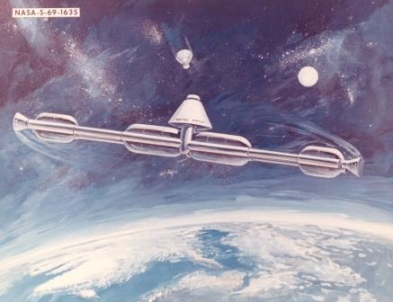 Image Credit: NASA. Artificial gravity space station. 1969 NASA concept.
