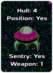 "Image of Cranberry Lifeboat Poker-Sized Card showing Hull 4, Position ""Yes,"" Sentry ""Yes,"" and Weapon 1"