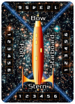 Image Orange Starship Poker-Sized Card -- 6 Power Settings on each Ship Side: Bow, Port, Stern, and Starboard