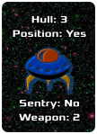 "Image of Blue/Red Lifeboat Poker-Sized Card showing Hull 3, Position ""Yes,"" Sentry ""No,"" and Weapons 2"