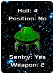 "Image of Emerald Lifeboat Poker-Sized Card showing Hull 4, Position ""No,"" Sentry ""No,"" and Weapons 2"
